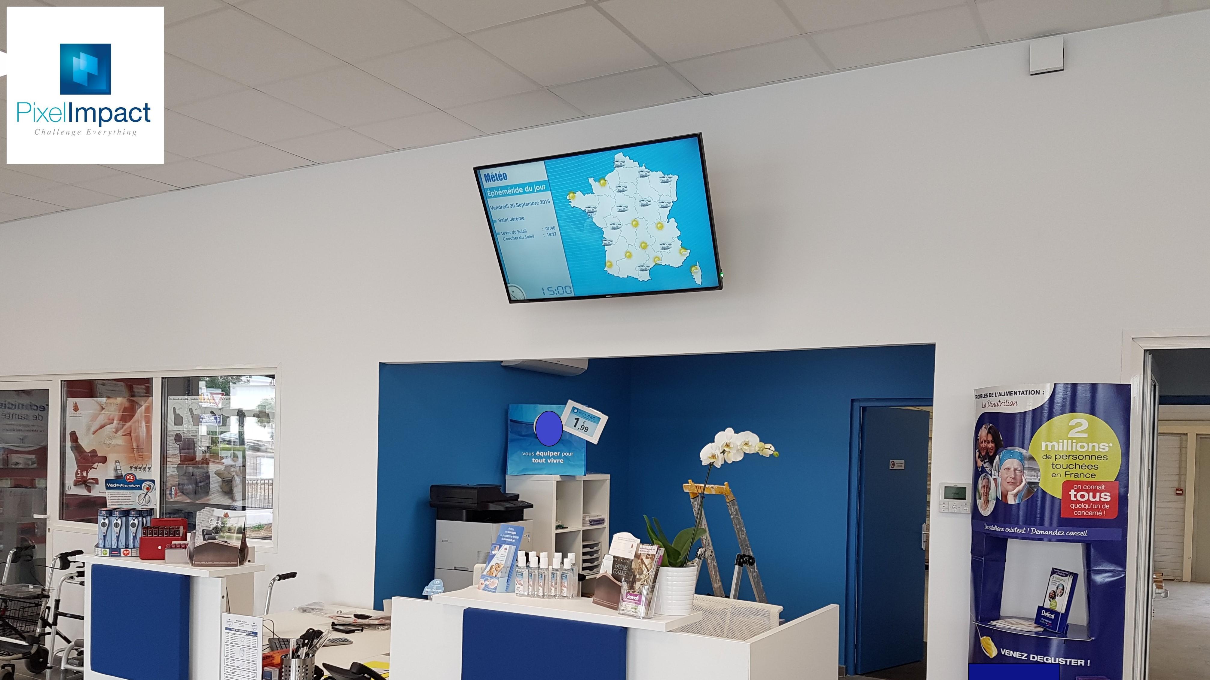 écran accueil magasin clinique hôpital lycée collège - pixel impact