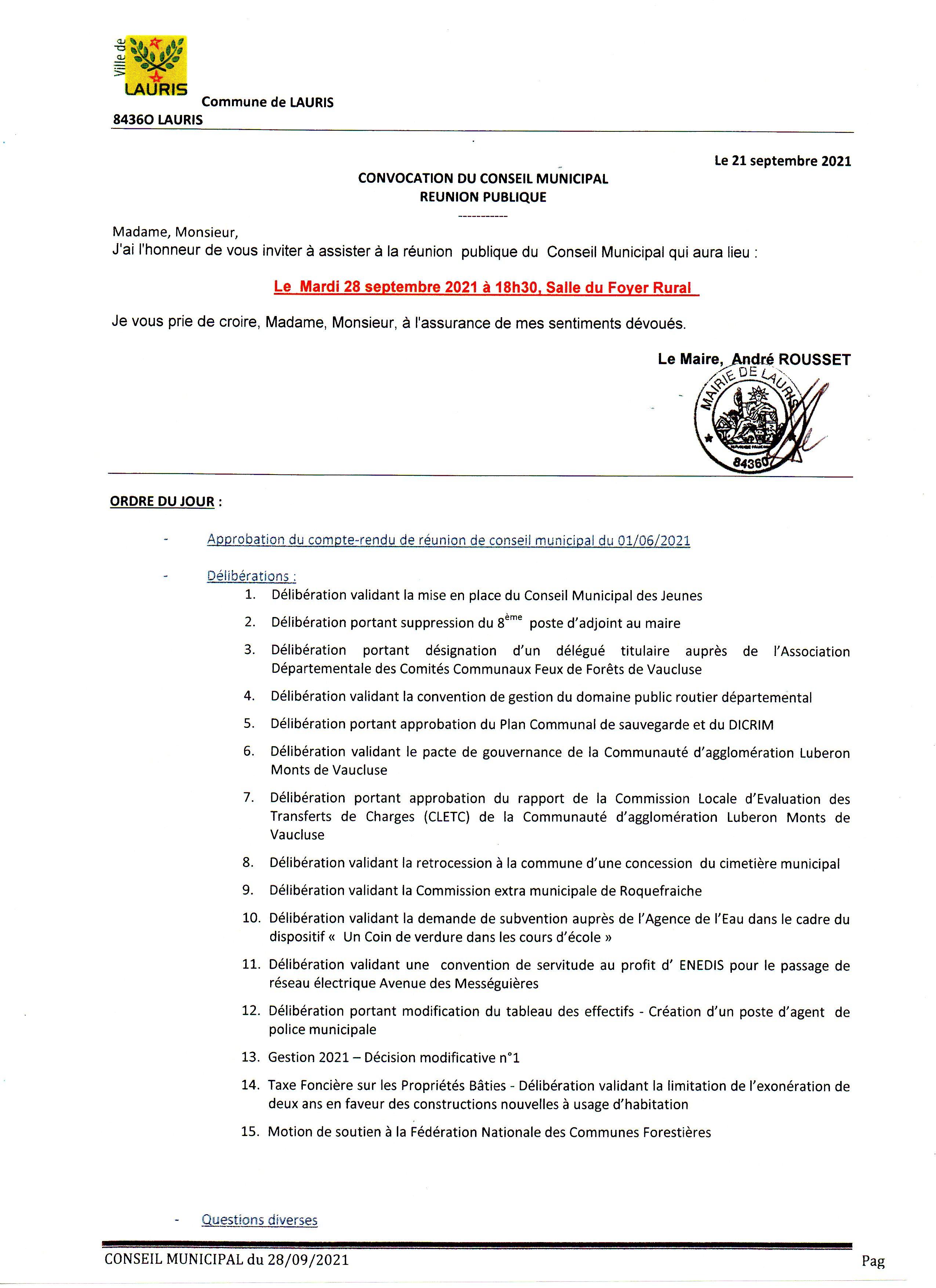 Conseil Municipal 28 09 2021