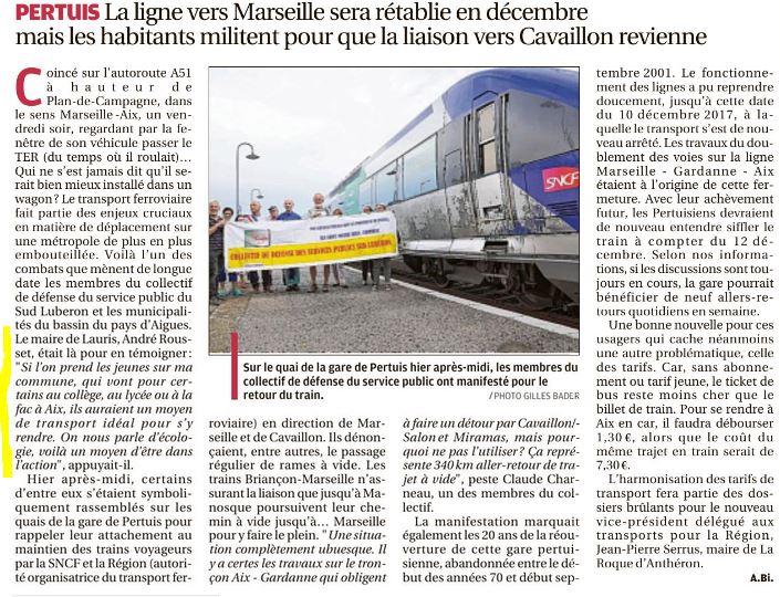 André Rousset trains Cavaillon Pertuis
